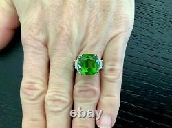 12.54 ct Natural Green Peridot and Diamond Ring 18k White Gold GIA Certified