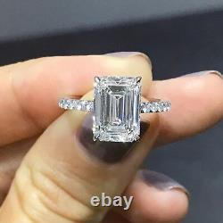 18K 2.00 Ct Emerald Cut Diamond Engagement Ring Solitaire H VS2 GIA Certified