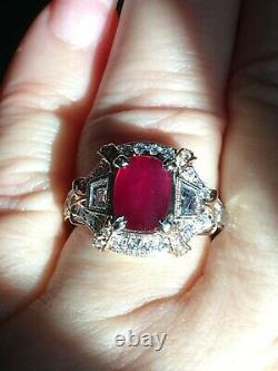 18k Gold 5.06 Ct Unheated Gia Certified No Heat Vs VIVID Red Ruby Diamond Ring