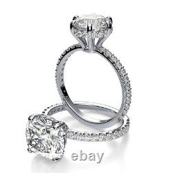 1.13 Ct Round Cut Under Halo U-Prong Pave Diamond Engagement Ring GIA CERTIFIED