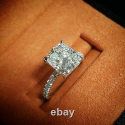 1.30ct Natural Cushion Pave Diamond Engagement Ring GIA Certified