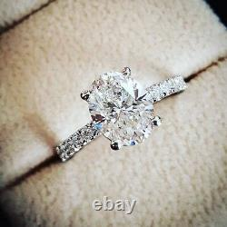 1.30ctw Natural Oval Pave Diamond Engagement Ring GIA Certified