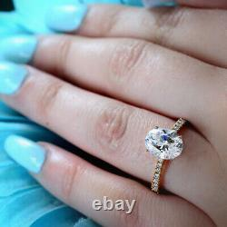 1.35ct Oval Cut Diamond Engagement Ring Pave 14k WG GIA G, VS2 Genuine Certified