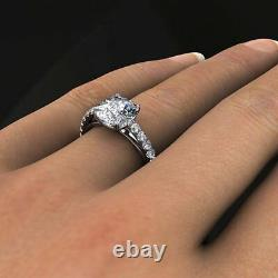 1.50 Ct. Natural Cushion Cut Pave Diamond Engagement Ring GIA Certified