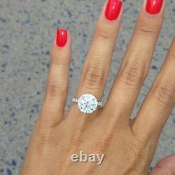 1.50 Ct. Natural Round Cut Halo Pave Diamond Engagement Ring GIA Certified