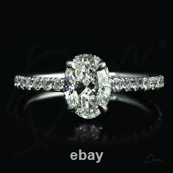 1.50 TCW Natural Oval Cut Pave Diamond Engagement Ring GIA Certified