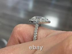 1.60ct Natural Pear Halo Pave Diamond Engagement Ring GIA Certified