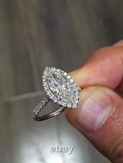 1.60ctw Natural Marquise Halo Pave Diamond Engagement Ring GIA Certified