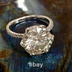 1.63ct Round Cut Under Halo U-Prong Pave Diamond Engagement Ring GIA CERTIFIED