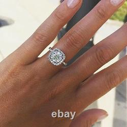 1.70 Ct Natural Round Square Halo Pave Diamond Engagement Ring GIA Certified
