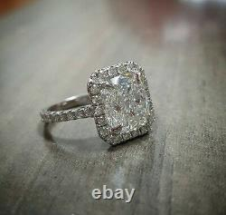 1.70ct Natural Radiant Halo Pave Diamond Engagement Ring GIA Certified