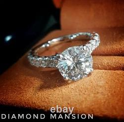 1.70ctw Natural Round Classic Pave Diamond Engagement Ring GIA Certified