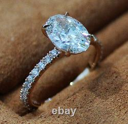 1.80 Ct. Natural Oval Cut Pave Diamond Engagement Ring GIA Certified