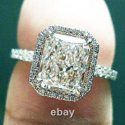 1.80 Ct. Natural Radiant Cut Halo Pave Diamond Engagement Ring GIA Certified