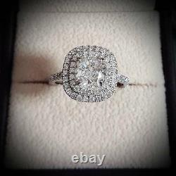 1.90 Ct Cushion Cut Double Halo Natural Diamond Engagement Ring GIA Certified
