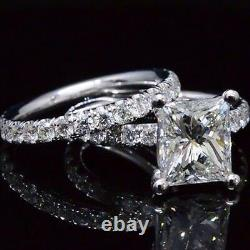 1.90ctw Natural Princess Cut Pave Engagement Set GIA Certified & Appraised