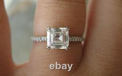 2.00 Ct. Natural Asscher Cut Pave Diamond Engagement Ring GIA Certified