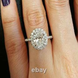 2.00 Ct Natural Oval Halo Pave Diamond Engagement Ring GIA Certified