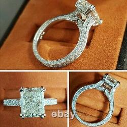 2.00ct Natural Radiant 3-Sided Eternity Pave Engagement Ring GIA Certified