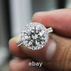2.10 Ct. Natural Round Cut Halo Pave Diamond Engagement Ring GIA Certified
