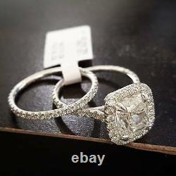 2.20 Ct Cushion-Cut Natural Diamond Pave Halo Engagement Ring GIA Certified