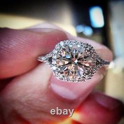 2.20 Ct. Round Cut Halo Diamond Engagement Ring GIA Certified & Appraised