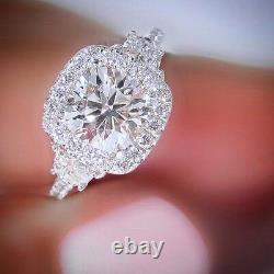 2.40 Ct. Natural Round Cut Half Moon Diamond Engagement Ring GIA Certified