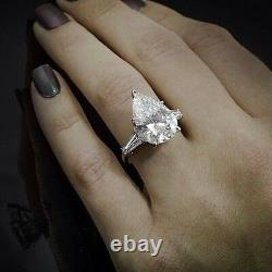 2.40 Ct. Pear Cut Baguette Side Stones Diamond Engagement Ring GIA CERTIFIED