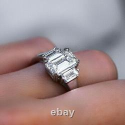 2.60Ct Emerald Cut Baguette Three Stone Diamond Ring G Color VVS2 GIA Certified