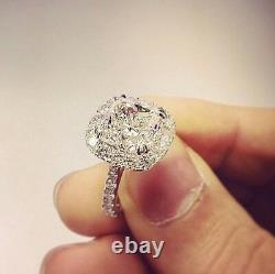 2.70 Ct. Natural Cushion Cut Halo Pave Diamond Engagement Ring GIA Certified