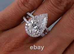 2.70 TCW Pear Cut Halo U-Prong Pave Diamond Engagement Ring GIA Certified