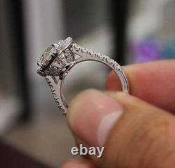 2.90 Ct. Natural Round Cut Halo Pave Diamond Engagement Ring GIA Certified