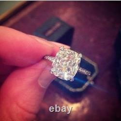 3.50ct Natural Cushion Cut Pave Authentic Diamond Engagement Ring GIA Certified
