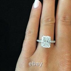 3.60 Ct Natural Radiant Cut Micro Pave Diamond Engagement Ring GIA Certified
