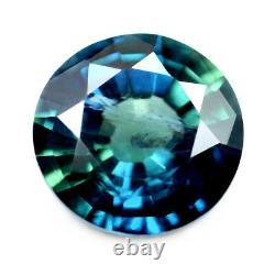 Certified 5.6mm Round Natural Unheated Teal Sapphire 0.81ct Untreated Madagascar