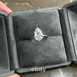 GIA CERTIFIED 0.53 Carat Pear shape D SI1 Solitaire Diamond Engagement Ring