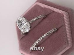GIA CERTIFIED Diamond 3.20 CT D VS1 Oval Cut 18k White Gold Ring Matching Band
