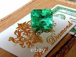 GIA Certified 10.16ct Natural Colombian Green Emerald Square Cut Prime Vivid