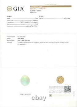 GIA Certified 15.47ct Oval Opal Loose Stone SUPER FINE PLAY OF COLOR 19.54x16.89