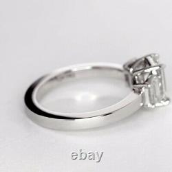 GIA Certified 1.1 Cts VS2 D Emerald Cut 3 Stone Diamond Engagement Ring 18K Gold