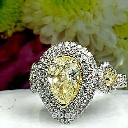 GIA Certified 2.14 Ct Yellow Pear Shaped Diamond Engagement Ring 14k White Gold
