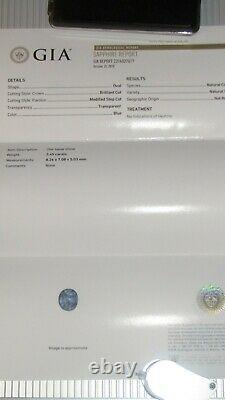 GIA Certified 2.45ct Oval Cut Unheated Blue Sapphire