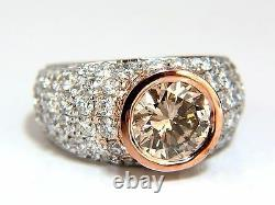 GIA Certified 3.08ct. Fancy light brown round cut diamond ring 14kt +