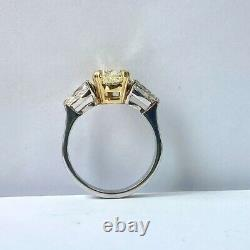 GIA Certified 3.19 Ct Pear Yellow Diamond Engagement Ring 18k White Gold
