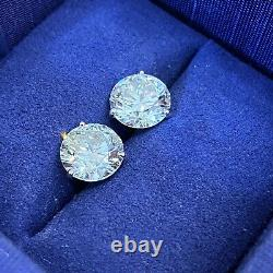 GIA Certified 6.20 cts Round Diamond Stud Earrings in White Gold C300MAN