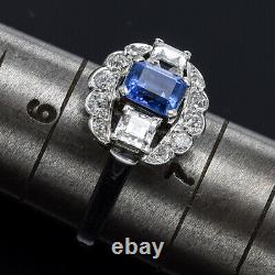 GIA Certified Antique 14K Gold Natural Sapphire &0.92TCW Diamond Band Ring 4.53G