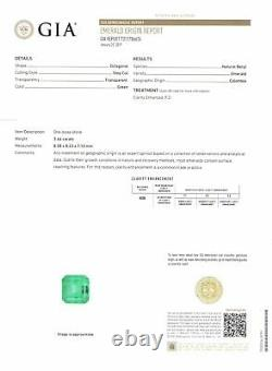 GIA Certified COLOMBIA Emerald 3.44 Cts Natural Lustrous Green Octagonal