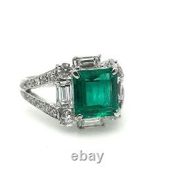 GIA Certified Colombian Emerald and Diamond Ring in Platinum HM1958RR