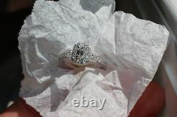 GIA Certified E-SI2 Emerald Cut Diamond Halo Engagement Ring 14K White Gold