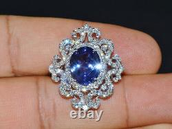 GIA Certified Natural 8.7Cts VS F Diamond Tanzanite 18K Solid Gold cocktail Ring